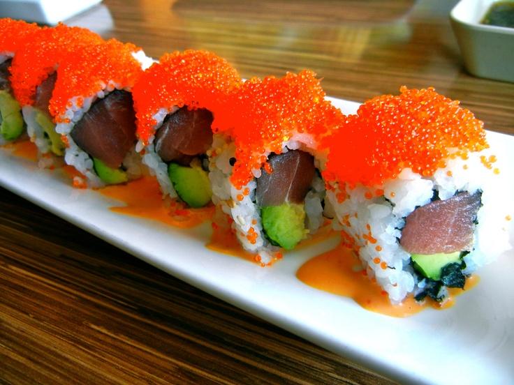 Red Sox Maki (tuna, avocado, spicy mayo with tobiko on top) from Shabu-ya in Cambridge, MA
