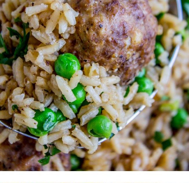 One Skillet Beef Meatballs with Rice and Peas - The Food Charlatan One Skillet Beef Meatballs with Rice and Peas - The Food Charlatan ...