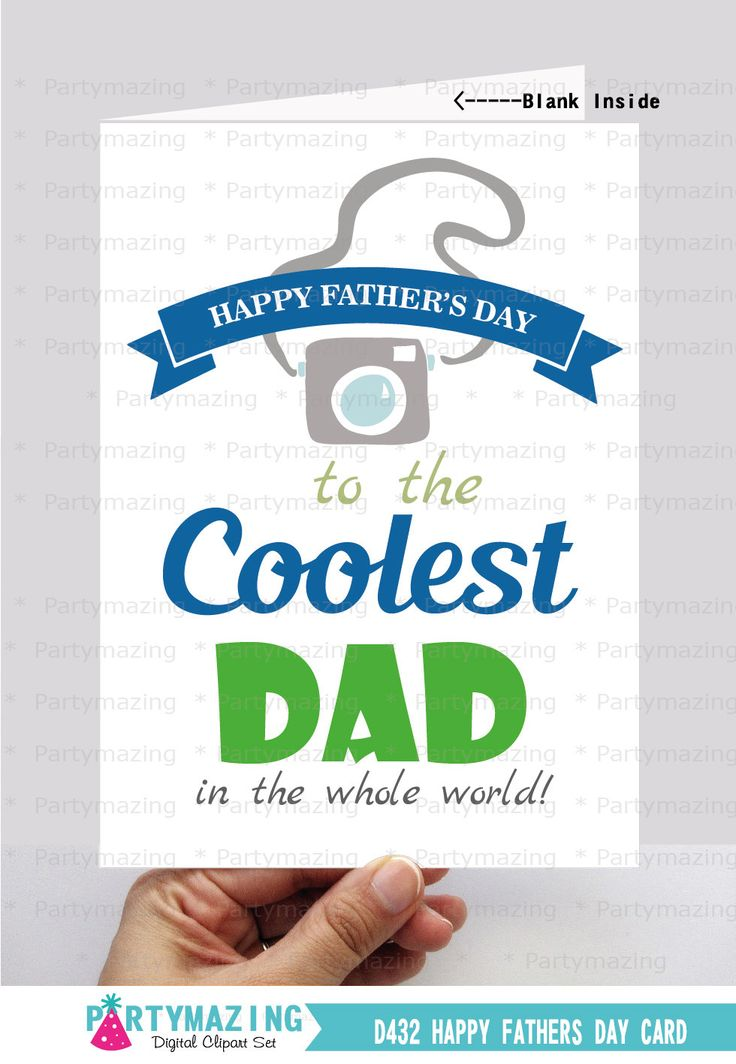 Father's Day Card Happy Fathers Day Printable Card Fathers Day Gift Camera Card Instant Download D432 (3.80 USD) by Partymazing