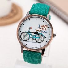 2016 Fashion Brand Quartz Watches Bicycle Pattern Cartoon Watch Women Casual Vintage Leather Girls Kids Wristwatches gifts Clock(China (Mainland))