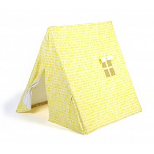 Deuz Tent - Yellow: This cool tent is ideal for playing, hiding or even curling up for a little snooze and will quickly become your little ones' favorite corner in which to snuggle up.  This tent is ideal for indoor and outdoor (weather permitting) play and comes with its own storage bag. The bag and tent fabric is made in India by a fair-trade company, is 100% organic cotton and printed with GOTS (Global Organic Textile Standard) certified non-toxic ink. The wooden structure is made by a…