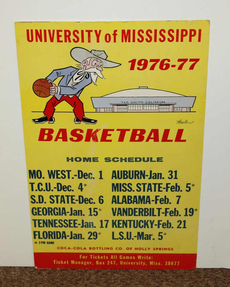 1976-1977 Colonel Reb Ole Miss basketball schedule