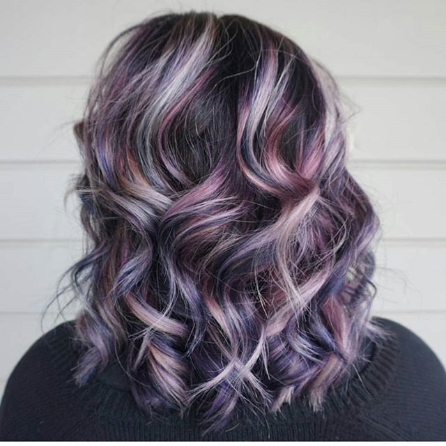 How gorgeous is this multidimensional Aveda hair color in varying shades of purple, from amethyst to lilac? Work by Aveda artist Rebecca Anderson.