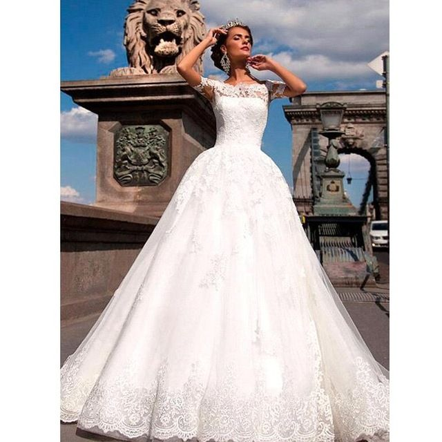Best Wedding Dresses 2017 Trends Casamento White Aline Wedding Dress Scoop Short Seeve Lace Princess Mariage Dress Custom Vestido De Noiva 2017 Wedding Weddingdresses