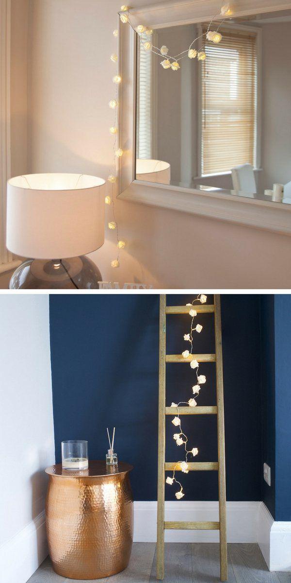 trends diy decor ideas une guirlande lumineuse accrocher autour d 39 un miroir ou d 39 une chell. Black Bedroom Furniture Sets. Home Design Ideas