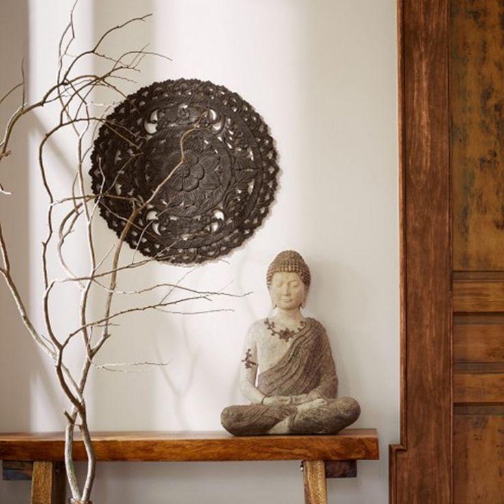 Naturale letto testiera 18 1.5ft scultura Lotus di thaiworldtrade