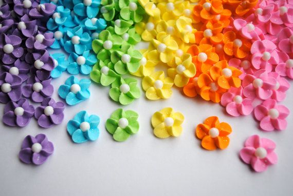 Royal Icing Flowers-  Pastel Rainbow Sparkle Mix (120) w/ White Sugar Pearl, $12 etsy.com [18.50 with shipping]