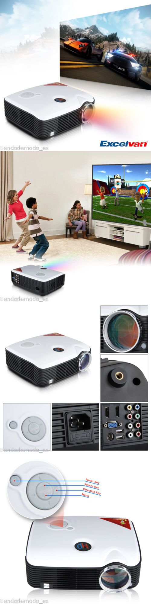 Home Theater Projectors: 2500 Lumens 1080P Hd Lcd Led Projector For Dvd Pc Home Cinema Theater Av Tv Vga BUY IT NOW ONLY: $106.0