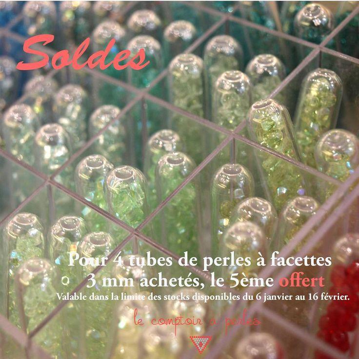 """SOLDES - L'opération """"4 achetés le 5ème offert"""" continue et est valable pendant toute la durée des #soldes sur une large sélection de fournitures à bijoux dont les tubes de perles à facettes 3mm! (dans la limite des stocks disponibles), dépêchez-vous d'en profiter! #lecomptoiraperles #operation4achetésle5emeoffert #bijoux #perles #facettes #beads #jewels #DIY #handmade #handmadejewelry #faitmain #création #creation #creativity #créativité #beadsaddict #perlesaddict #couleurs…"""