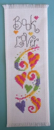 Completed Cross Stitch Bookmark Book Lover Colorful Hearts | eBay