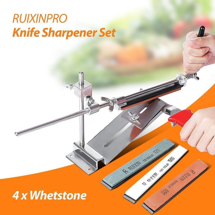 Knife Sharpener Ruixin Pro III All Iron Steel Professional Chef Knife Sharpener Kitchen Sharpening System Fix-angle 4 Whetston  Price: 22.33 USD