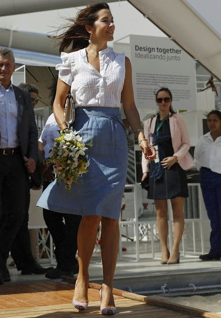 On August 2, 2016, Denmark's Crown Prince Frederik and her wife Denmark's Crown Princess Mary, Denmark's Princess Marie, her husband Denmark's Prince Joachim and their children, Prince Nikolai, Prince Felix, Prince Henrik, Princess Athena attended the opening of the Danish Pavilion in Rio de Janeiro, Brazil. (Crown Princess Mary wore A.P.C. Bellona Linen and Cotton Skirt).