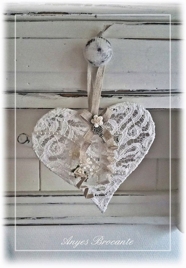 Brocante hanger hart shabby chic ♥ vintage lace heart ♥