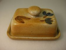 gres du marais stoneware covered butter dish floral design made in france