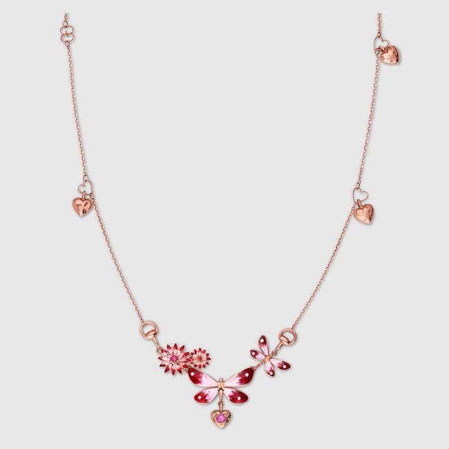 Collana #Gucci Flora in oro rosa, smalto e rubini