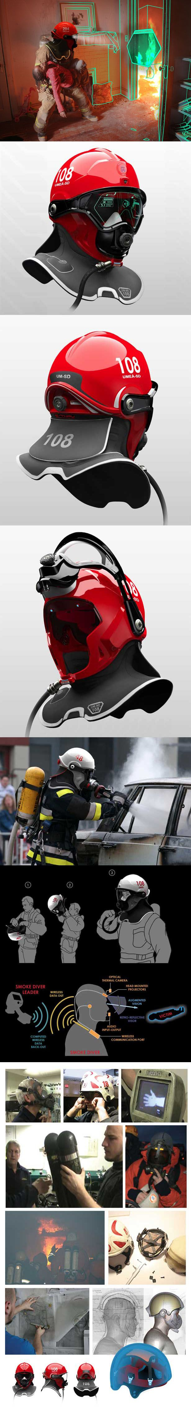 C-Thru smoke diving helmet concept. It helps firefighters to see clearly in smoke-filled buildings to do rescue missions. Using their traditional firefighting equipment, they have to keep hand contact with walls or crawl on the ground while carrying heavy air support and hand held equipment, this can slow down the rescue process.