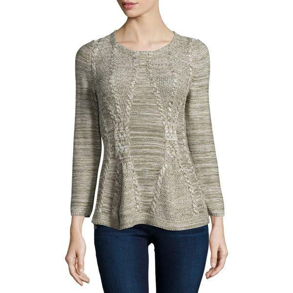 Neiman Marcus Bracelet-Sleeve Peplum Sweater ($33) ❤ liked on Polyvore featuring tops, sweaters, true loden, peplum sweaters, chunky cable knit sweater, cable knit peplum sweater, sleeve sweater and cable-knit sweater