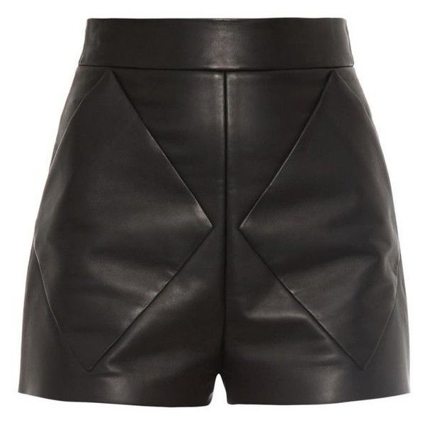 Balenciaga Diamond seam-bonded leather shorts ❤ liked on Polyvore featuring shorts, high-rise shorts, high-waisted shorts, highwaist shorts, high rise shorts and graphic shorts
