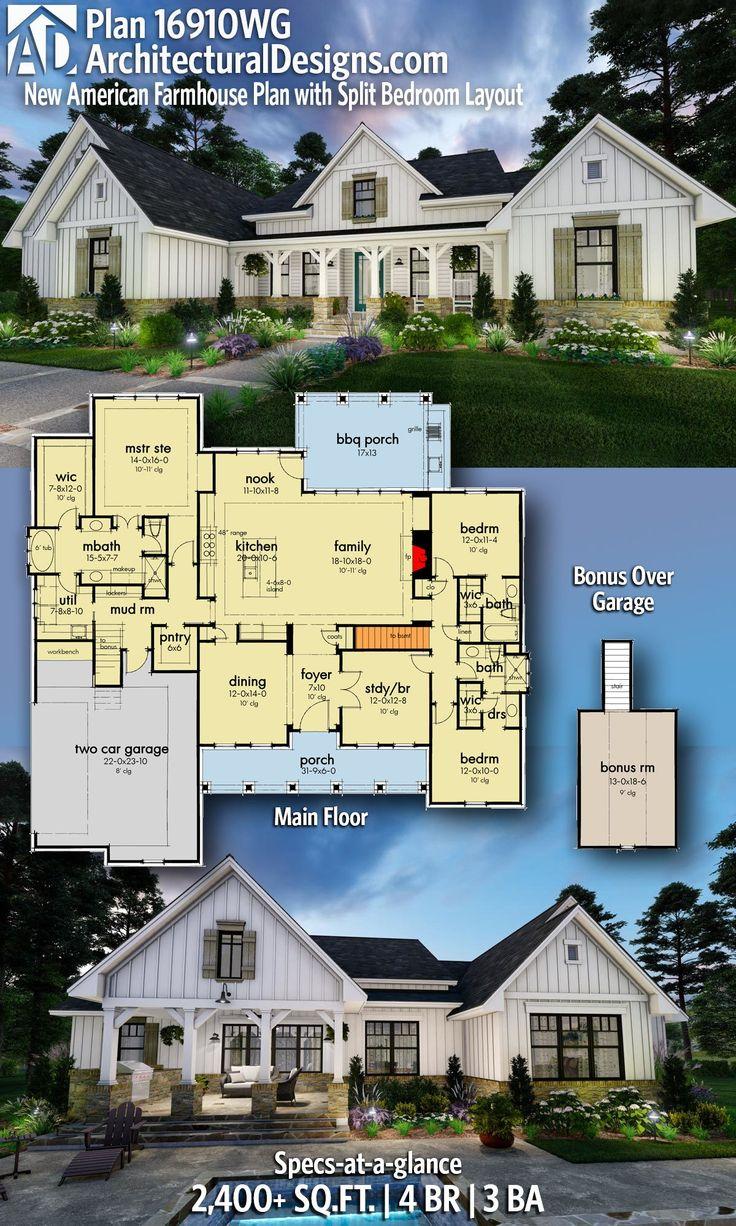 Plan 16910wg New American Farmhouse Plan With Split