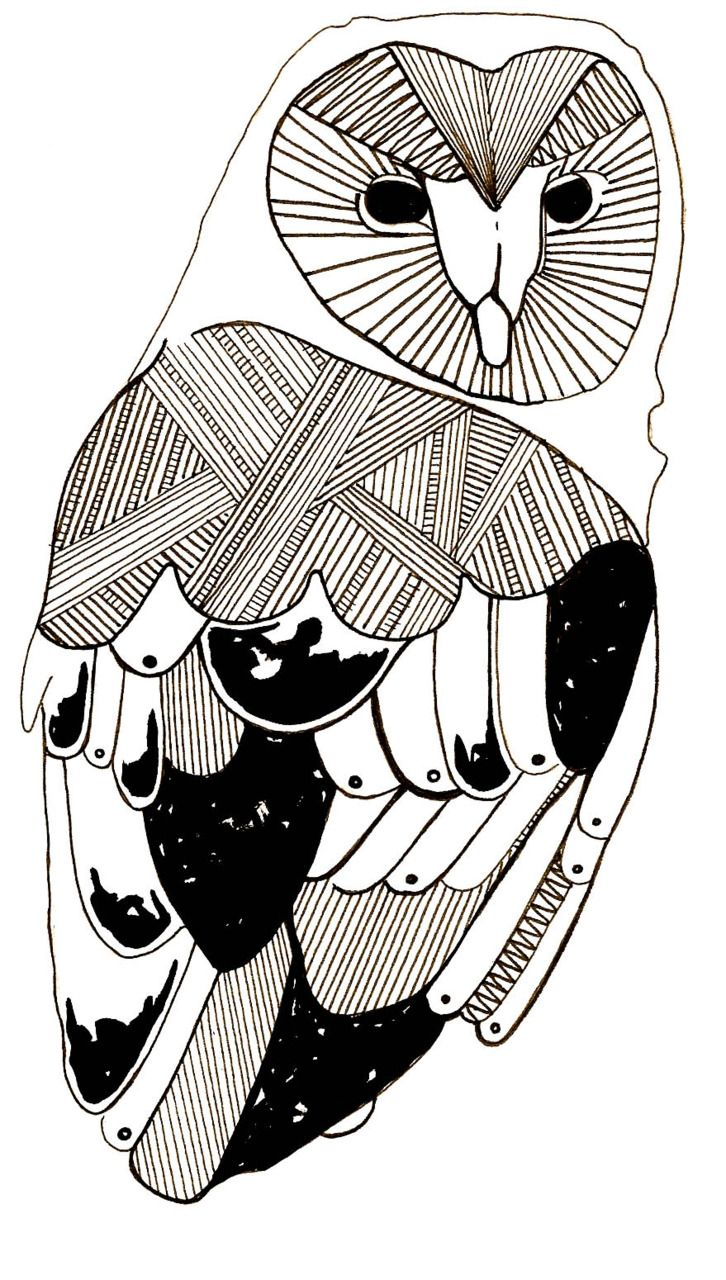 Owl by Charlotte Goodman - black and white, lines, modern graphic