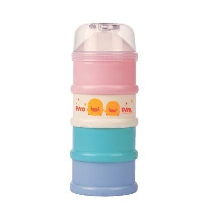 Piyo Piyo Large Colorful Four-Layer Milk Powder Dispenser Holds powdered formula for up to 4 feedings.. Definitely comes in handy when you're on the go!