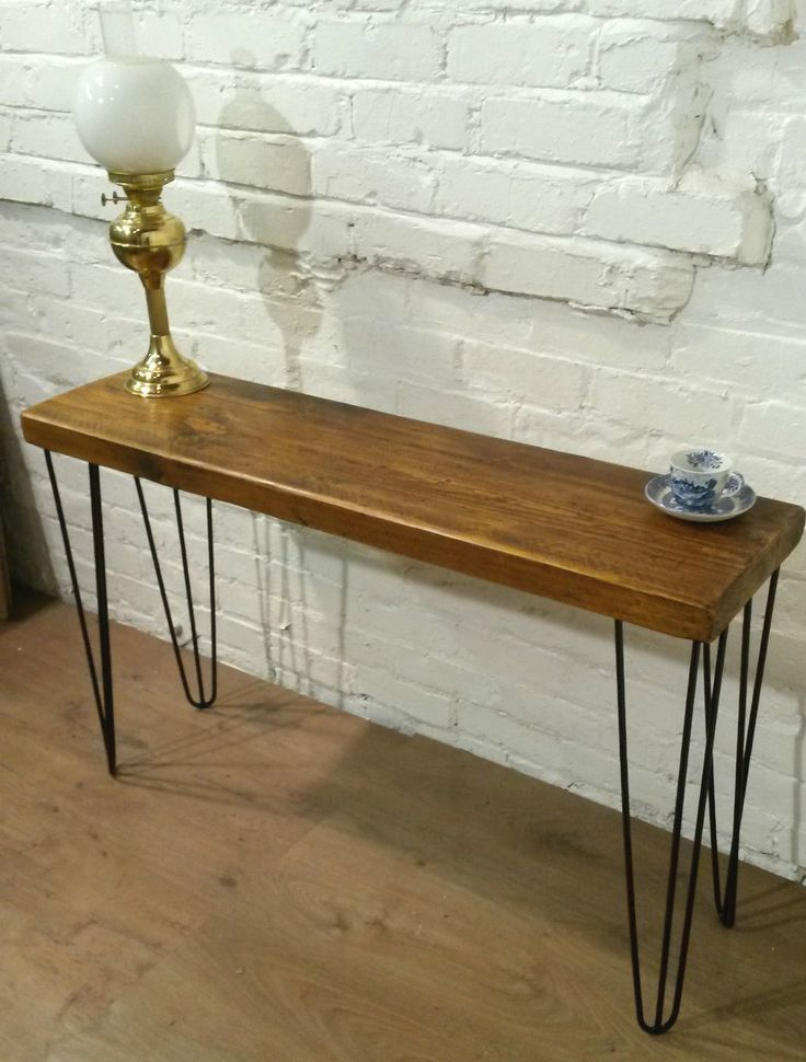 Hand Made Hair Pin Legs Vintage Reclaimed Solid Pine Wood Industrial  Console Table Photo 1
