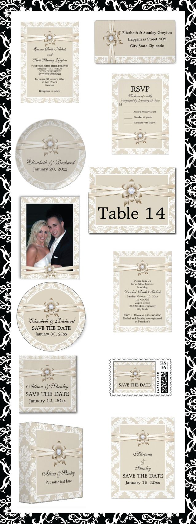 Damask border with beige ribbon and flower