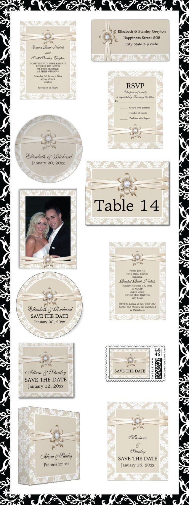 zazzle wedding invitations promo code%0A Damask border with beige ribbon and flower elegant wedding invitations and  matching stationery   damask