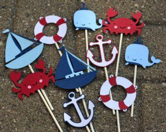 Cangrejo 24 náuticas temáticas Cupcake Toppers por AngiesDesignz