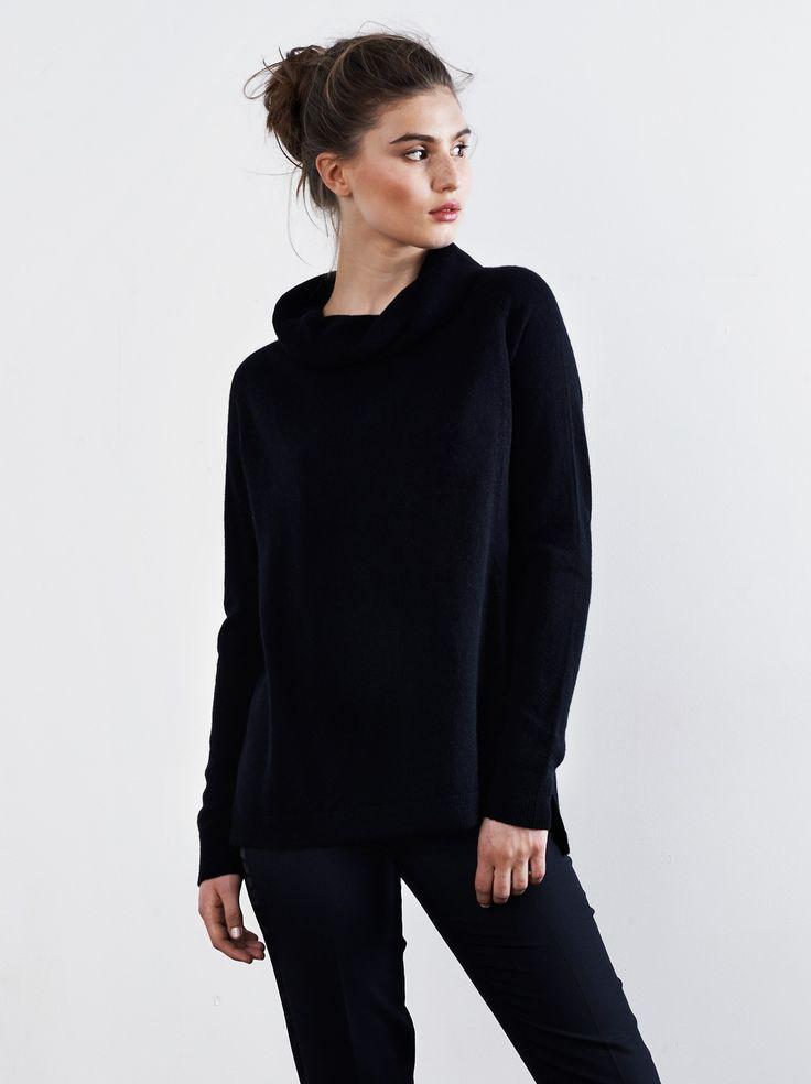 Oversize Polotröja Black - Soft Goat