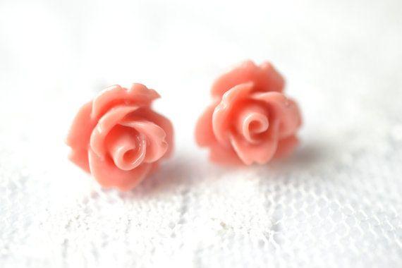 Cute Small Vintage Retro Resin Pink Rose Stud Earring Bohemian Summer £2.50