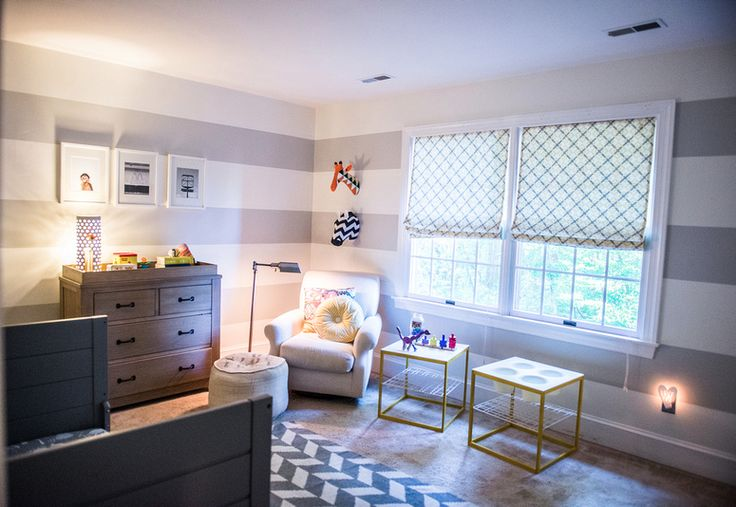 This nursery's calming yet sharp and modern vibe is accentuated with interesting details and fun colors!Grey White Stripes Wall, Playrooms Wall, Wall Stripes, Projects Nurseries, Wide Stripes, Modern Nurseries, Eden Room, Grey And White Stripes Wall, Accent Walls