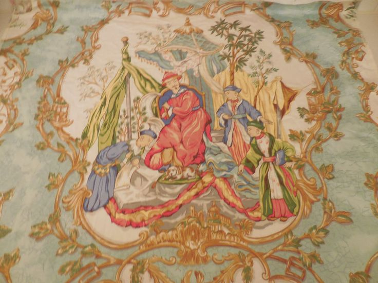 TAIPING PALACE VERVAIN chinoiserie fabric panel French Country Chic Cottage
