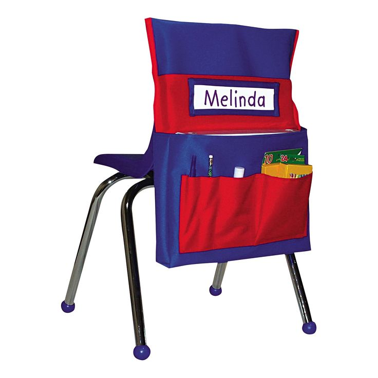 """Keep young students' supplies organized and within easy reach! Heavy-duty washable canvas with PVC coating for added durability. Features six storage pockets and a name tag holder. Fits seat backs up to 30"""" around. Pocket Chart Type: Seatback Pocket Chart; Total Pockets: 6; Width: 12""""; Height: 22 1/2""""."""