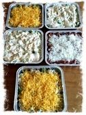 5 Easy Freezer Meals for dishes on the go for New Moms 1. Layered Enchilada Casserole 2. Quesadilla Casserole 3. Wild Rice and Chicken 4. Goulash 5. Potato Soup *Bonus #6! Chicken and Dumplings