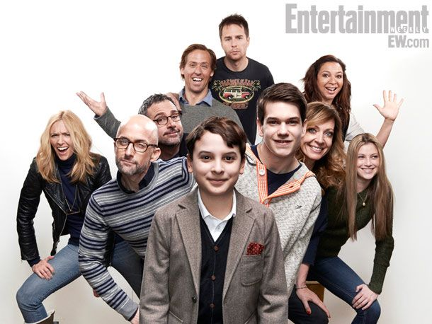 "(From top) Sam Rockwell, Nat Faxon (director), Maya Rudolph, Toni Collette, Steve Carell, Allison Janney, Zoe Levin, Jim Rash (writer), Liam Jame, and River Alexander from, ""The Way, Way Back."""