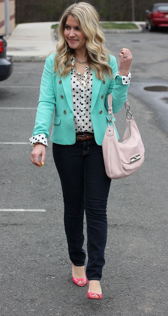 I really dig the polka dot blouse and the mint blazer