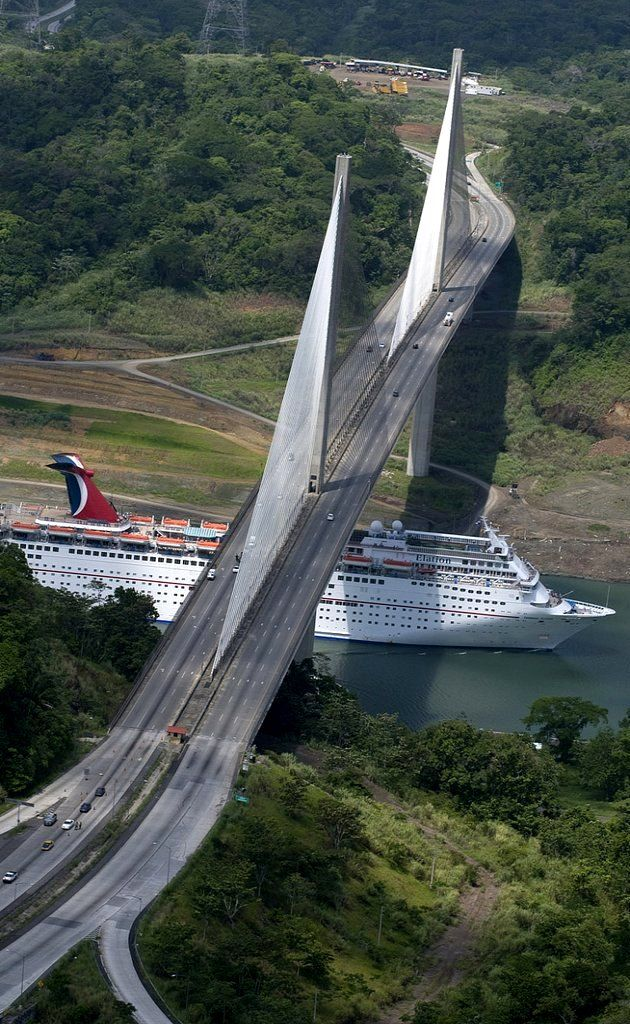 Carnival ship sailing through the Panama Canal. (by Carnival Cruise Lines on Flickr)