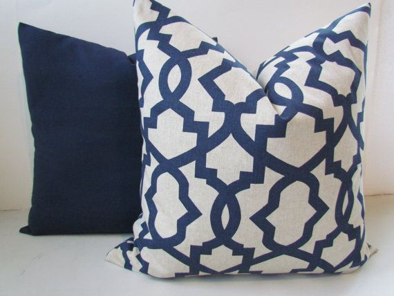TAN PILLOWS Navy Blue Throw Pillow Covers Dark by SayItWithPillows