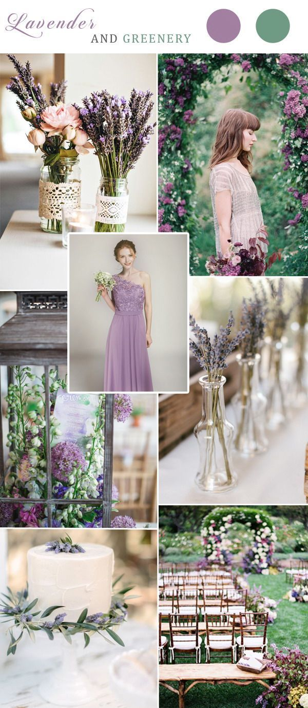 lavender and greenery wedding color ideas 2017 with lavender lace bridesmaid dress
