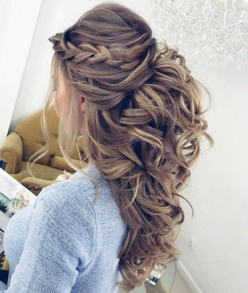 Curly Half Updo With A Braid And Bouffant #weddinghairupdos