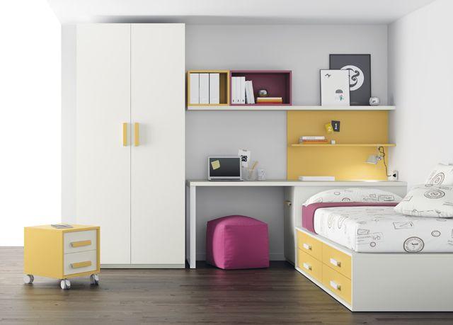 Kids Touch 33 Dormitorio juvenil Juvenil Camas Compactas y Nidos Cama nido con cama de arrastre, con escritorio, estanterías y armario.