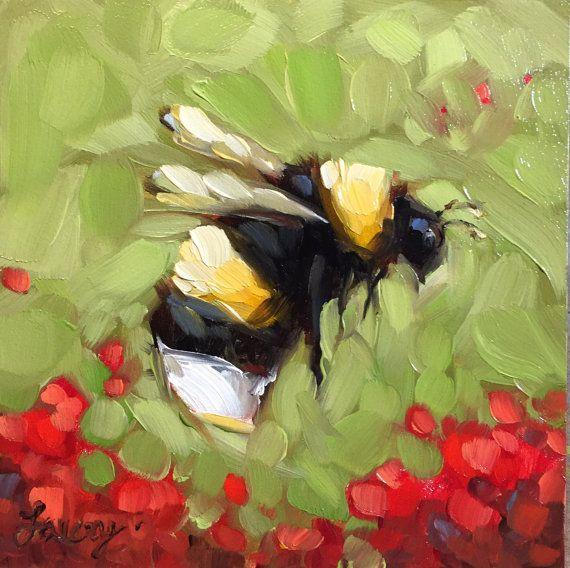 Bumblebee painting Original impressionistic oil by LaveryART