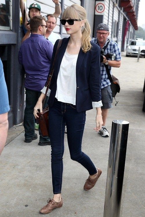 Taylor Swift completes her casual blazer ensemble with cute oxfords. Get yours here.
