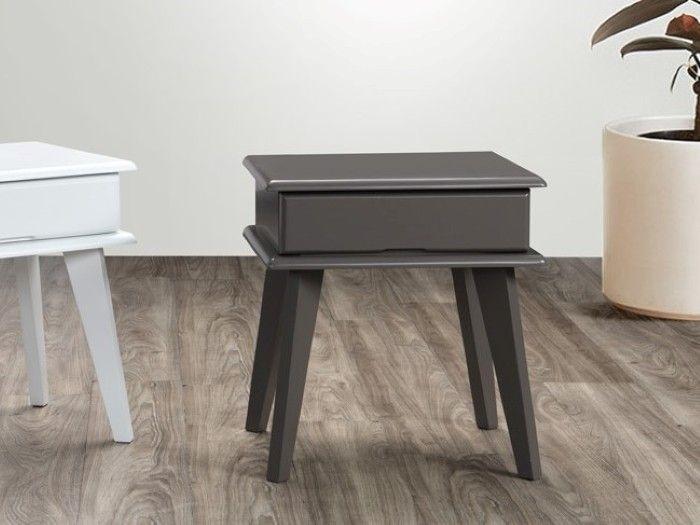 Ari Grey Bedside Table Hardwood Construction In 2020 Hardwood