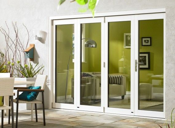 Ultra External Sliding Folding Doors 3M (10ft) double glazed in White Aluminium and Oak.