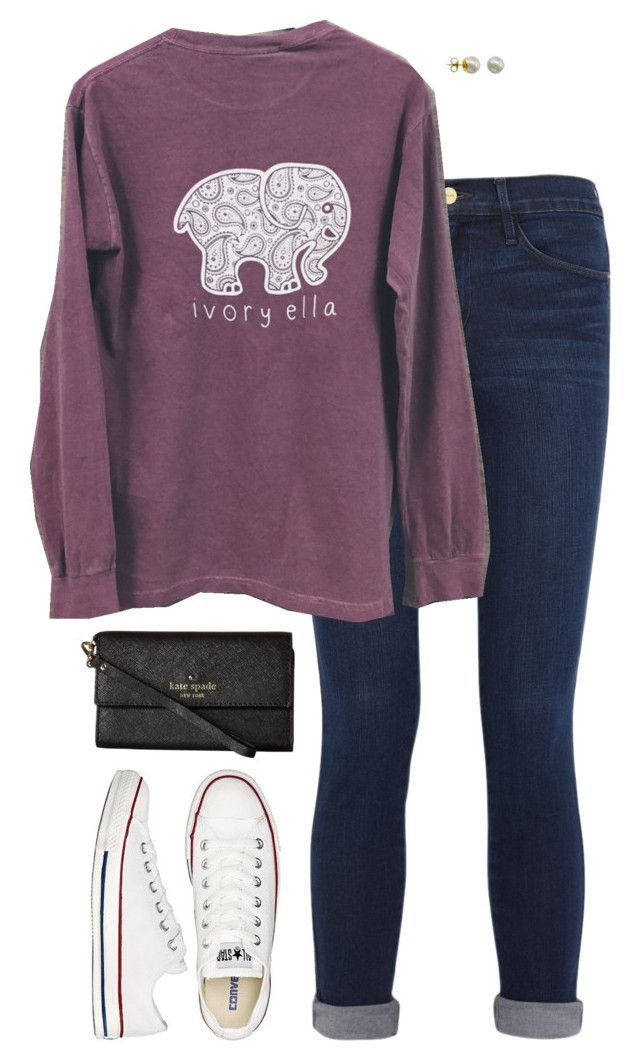 """""""Follow @ivory-ella-Read D!"""" by sc-prep-girl ❤ liked on Polyvore featuring Frame Denim, Converse, Majorica and Kate Spade"""