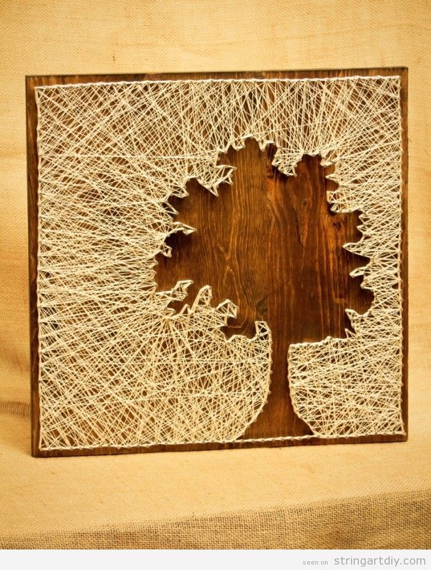 tree silhouette string art diy decoration ideas
