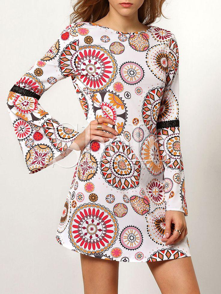 Vestido manga larga sin espalda vintage -multicolor 15.51