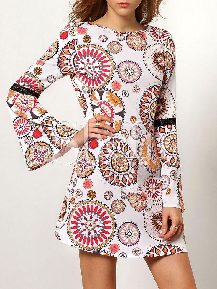 Robe+vintage+imprimé+manches+longues+dos+dénudé+-multicolore++16.30